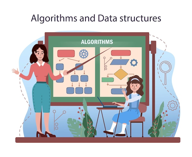 It education. students learning about algorithms, ai and computers