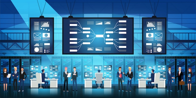 It engineers in big data center work on new technology