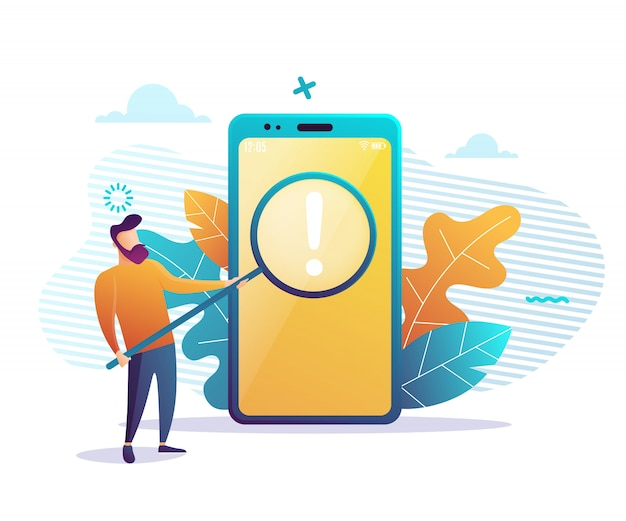 It expert holding a big magnifying glass  illustration. search for information and invest.
