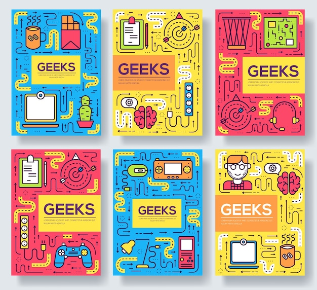 It geeks brochure cards thin line set