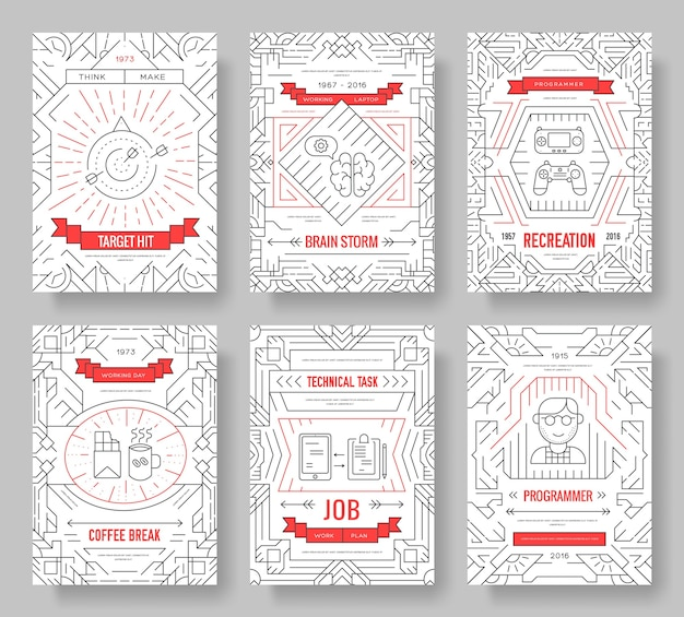It geeks cards thin line set. office professional developer template of flyear, book cover, banners.