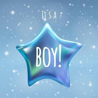그것은 밤 하늘 배경에 소년 반짝임 작은 별입니다. 벡터 일러스트 레이 션 eps10