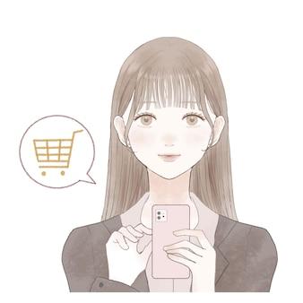 スマホで買い物をしているスーツ姿の女性です。