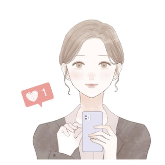 Это женщина в костюме, которая любит пользоваться смартфоном.
