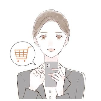 スマホでオンラインショッピングをしている女性です。