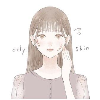 지성 피부로 고민하는 여성입니다.