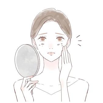 顔のシミに悩む女性です。