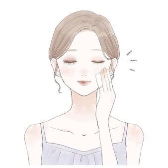 Смывкой макияжа занимается молодая женщина.