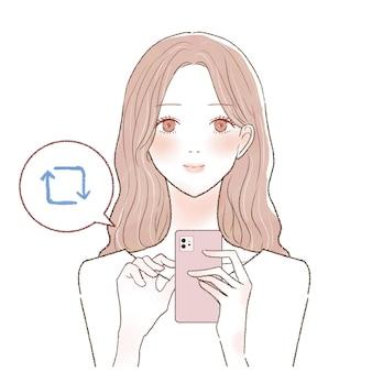 스마트폰으로 리트윗하는 젊은 여성입니다.