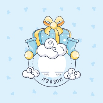 It is a boy baby shower card with gift box and socks