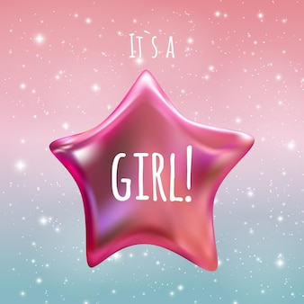 It is a girl twinkle little star on night sky background. vector illustration eps10