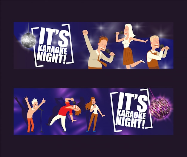 It is karaoke night in bar set of illustration.