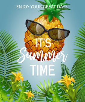 It is summer time lettering with pineapple in sunglasses. summer offer