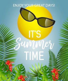 It is summer time lettering with sun in sunglasses. summer offer