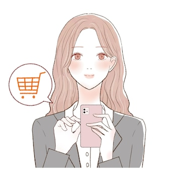 It is a woman in a suit shopping with her smartphone.