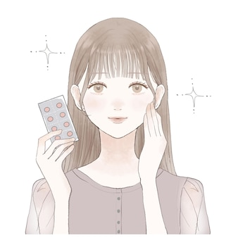 It is a woman with a tablet type supplement.