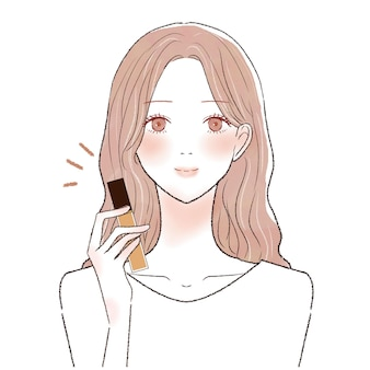 It is a young woman with concealer in one hand.