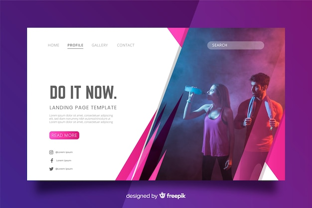 Do it now sport landing page with photo