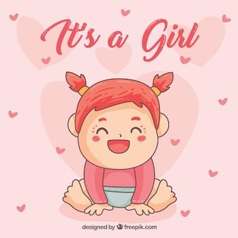 Это девушка-открытка в ручном стиле