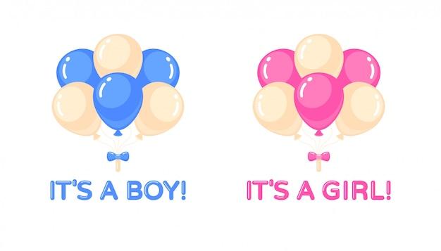Это девочка, это мальчик с воздушными шарами. детский душ элемент дизайна. отдельные иллюстрации Premium векторы