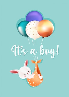 It's a boy baby shower greeting card
