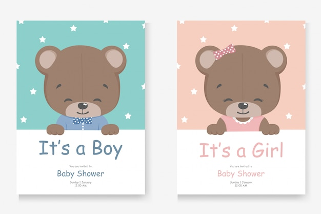 It's a boy or it's a girl greeting card for baby shower with a little cute bear