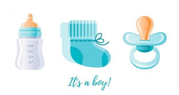 It's a boy, newborn icon set.