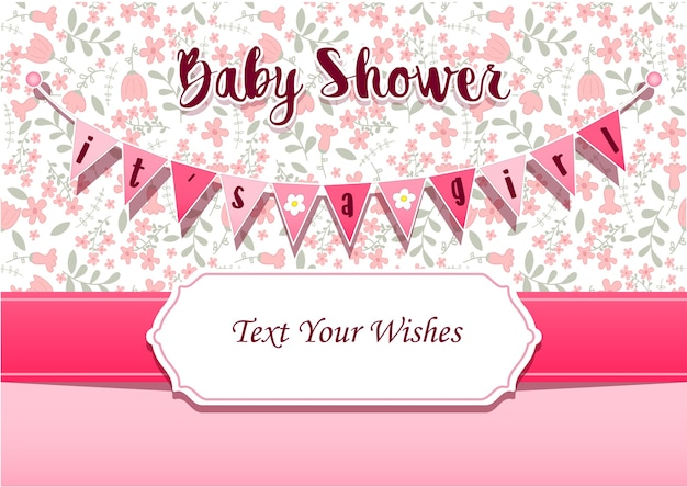 It's a girl baby shower invitation card design template