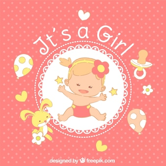 It's a girl card in hand drawn style
