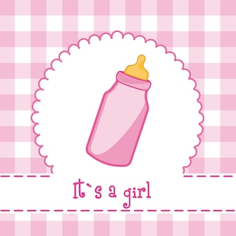 It´s a girl card with bottle baby baby shower