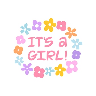 It's a girl! hand written lettering greeting card.