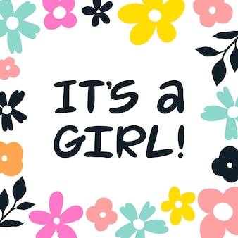 It's a girl hand written lettering greeting card.
