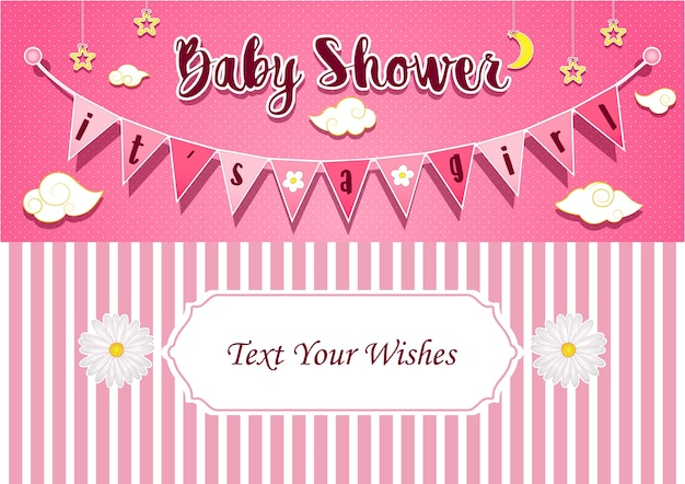 It's a girl invitation card design template