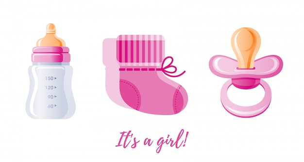 It's a girl, newborn icon set.