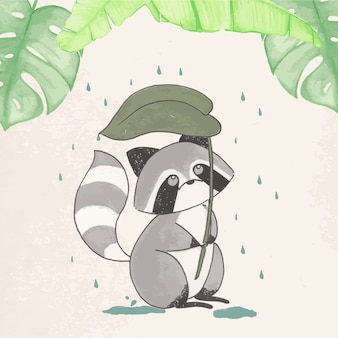 It's rainy day for a racoon illustration