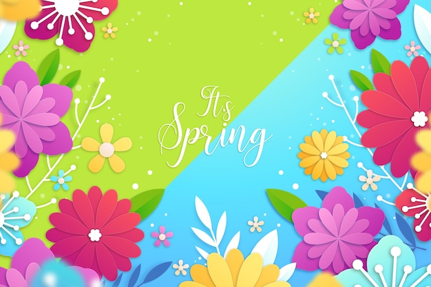 It's spring background in colourful paper style