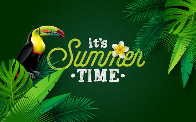 It's summer time illustration with flower and toucan bird