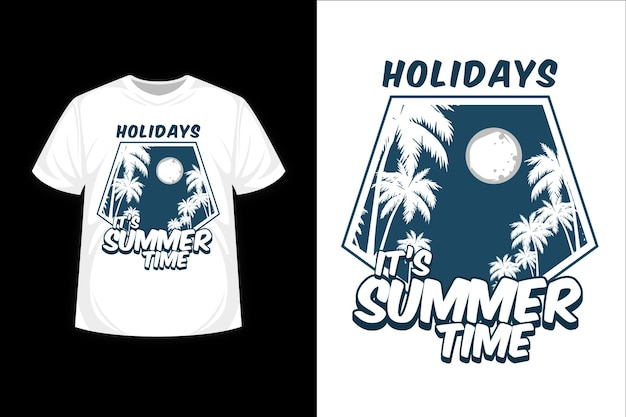 It's summer time silhouette t shirt design Premium Vector