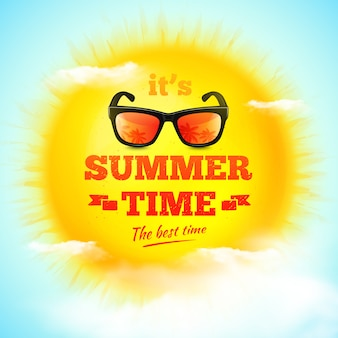 It's summer time typographic inscription with sunglasses on 3d realistic sun and clouds.  illustration