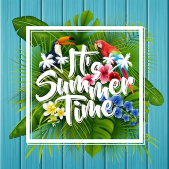 It's summer time typography in frame wooden background