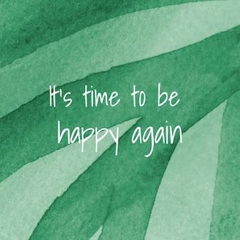È tempo di essere di nuovo felici modello sociale con motivo memphis ad acquerello