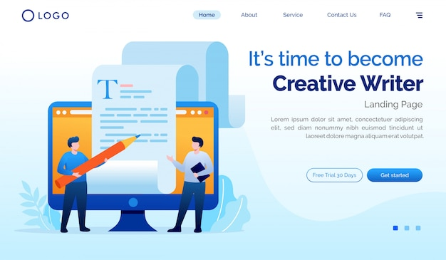 It's time to become creative writer landing page website flat illustration template