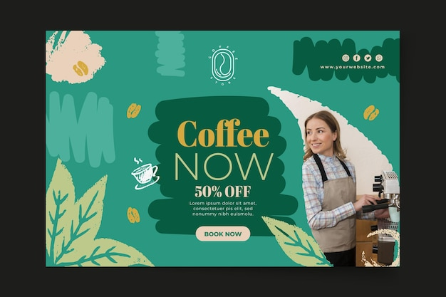 It's time for coffee banner template