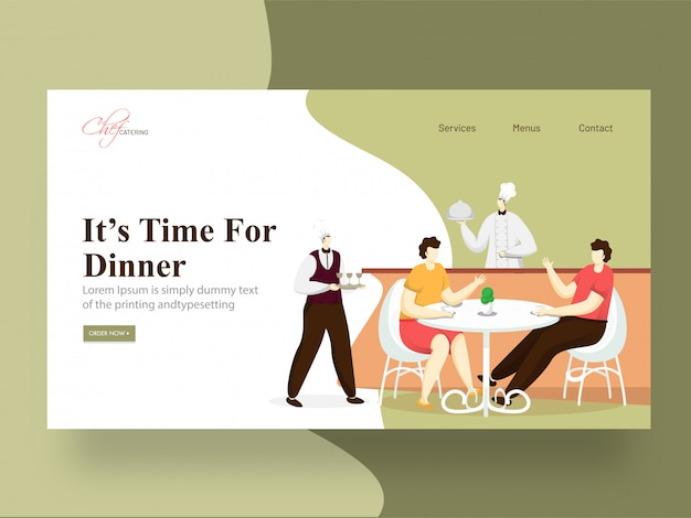 It's time for dinner landing page  with chef serving, man and woman sitting at a restaurant table.