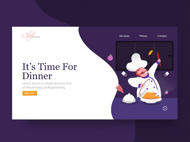 It's time for dinner landing page  with happy chef character presenting chicken on abstract .