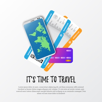 It's time to travel. illustration of boarding pass airplane ticket, smartphone with world map, and credit card for payment