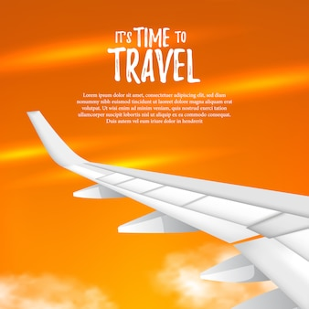 It's time to travel. illustration of wing airplane on the sunset golden sky view