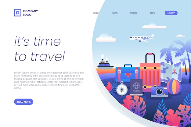 It's time to travel luggage landing page