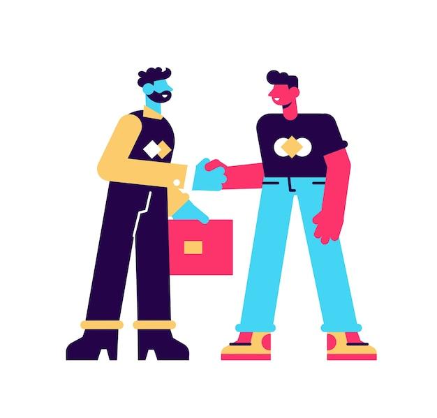Ит-специалист и бизнесмен встречаются и обмениваются рукопожатием. сцена приема на работу сотрудника на офисную работу