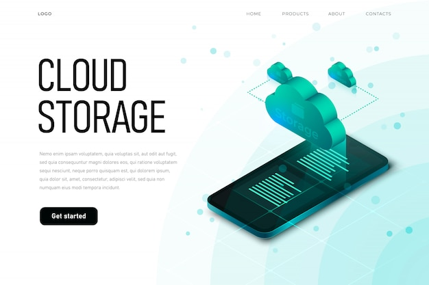It sphere related isometric illustration with 3d cloud and isometric smaprtphone. cloud storage landing page template with isometric cloud, hi tech technology,